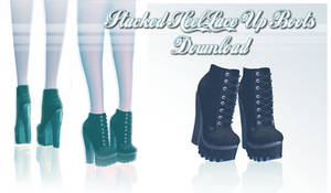 Stacked Heel Lace Up Boots - MMD Download