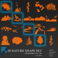 20 Photoshop Nature Shapes and Brushes set by ignacio197