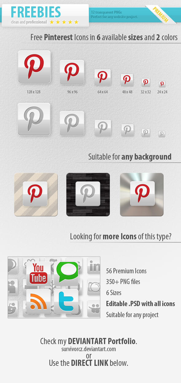 Free Pinterest Icons by survivorcz