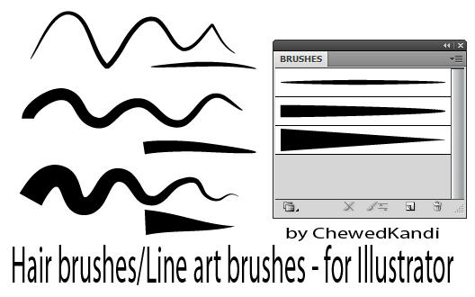 Drawing Straight Lines With Brush In Photo : Hair line art brushes for ai by chewedkandi on deviantart