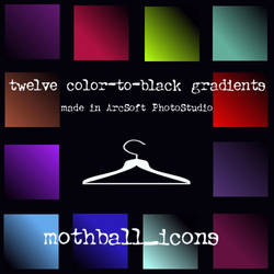 12 color-to-black gradients by tumescence