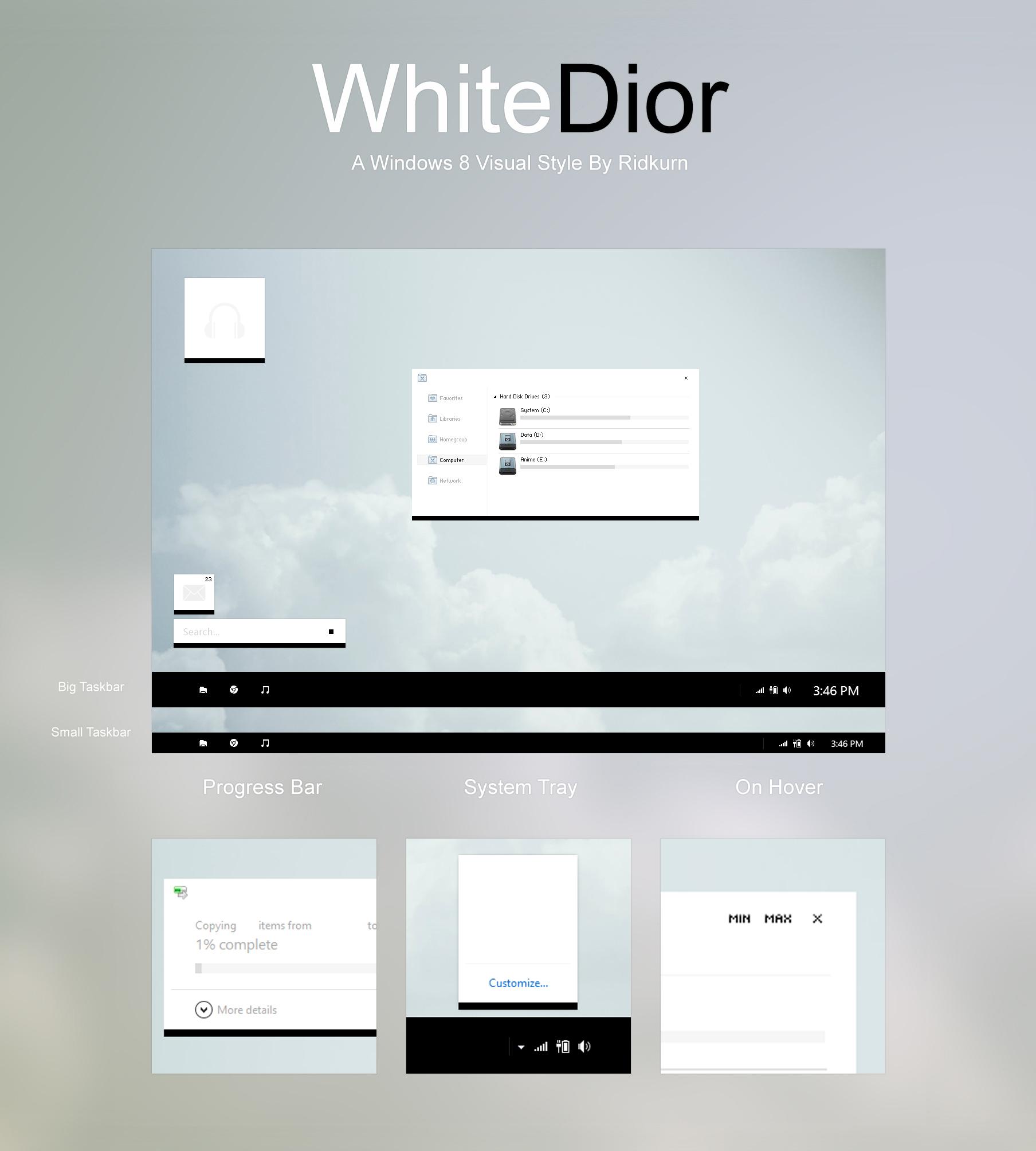 [UPDATE] WhiteDior Visual Style for Windows 8/8.1 by RidKurn