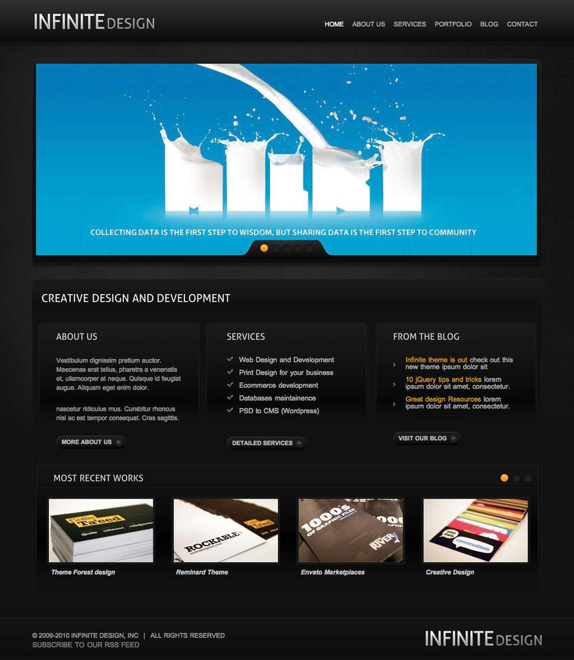 Infinite Black Theme Free PSD by manu3l9816