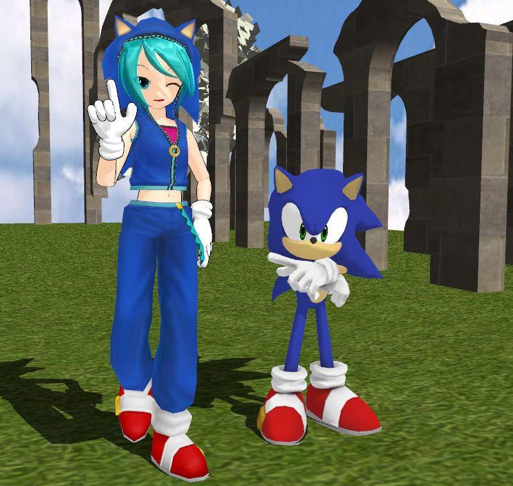 Sonic and Miku by RoxasRox1042
