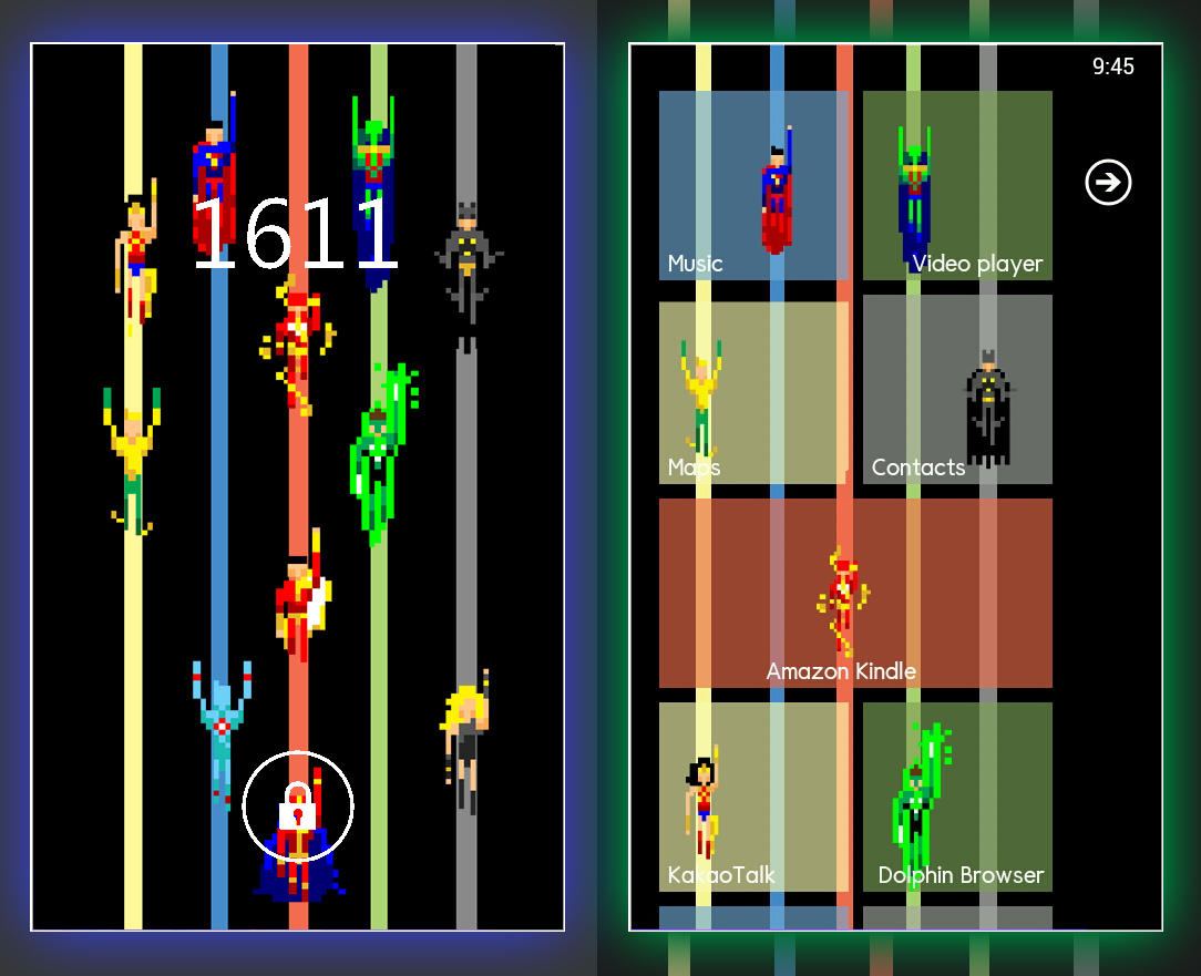 The Justice League's 8-bit Homescreen by bludreamers