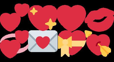 Hearts, Love Letter, Kiss Emoji