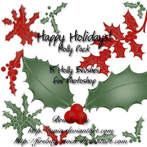 X-mas Holly Brush Pack by firebug-stock