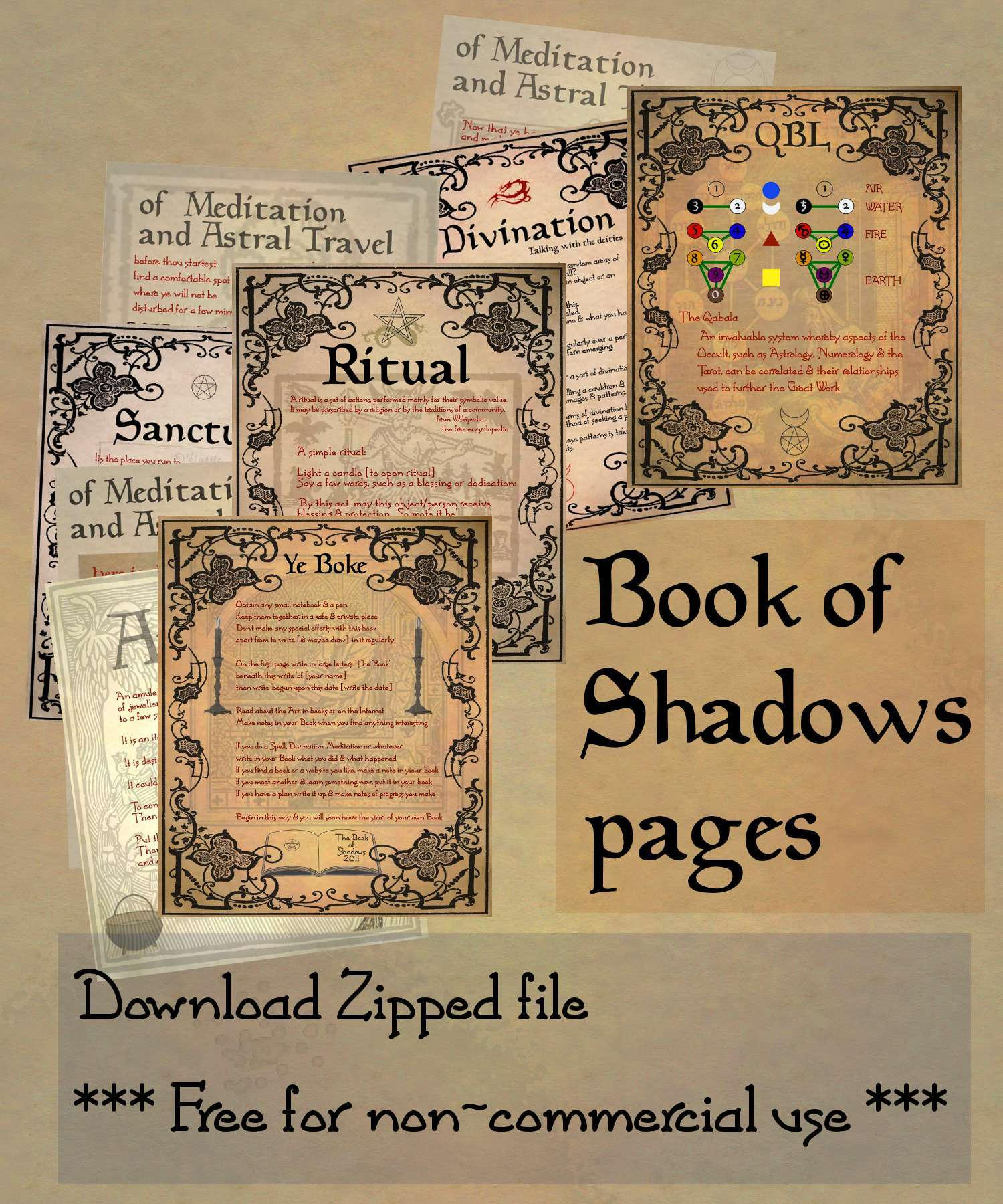 Simplicity image throughout free printable book of shadows pages