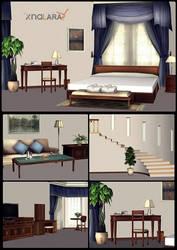Bedroom scenery for XNALara by deexie