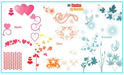 Hearts, stars n leaf brushes.