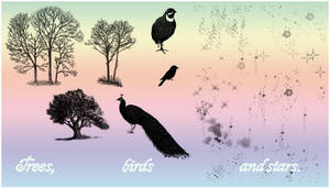 Tree, bird 'n star brushes by Snowiee