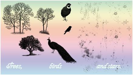 Tree, bird 'n star brushes