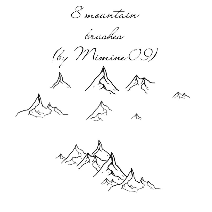 8 Hand drawn mountain brushes by Mimine09