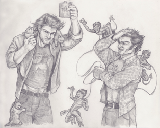 Pesky Pets - Gambit and Wolverine