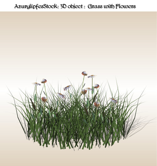 3D object 1.0 grass and flower by AzurylipfesStock
