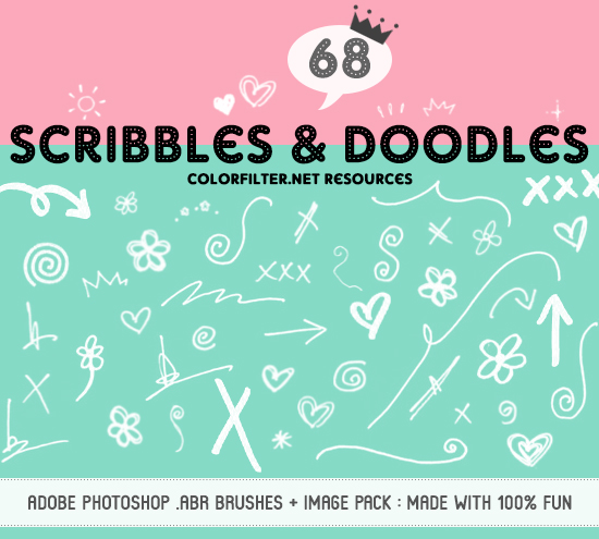 Decorative Brushes Set 06: Fun Scribbles + Doodles by colorfilter