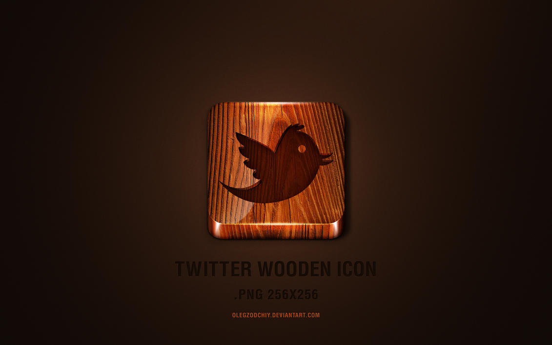 3D wooden Twitter icon