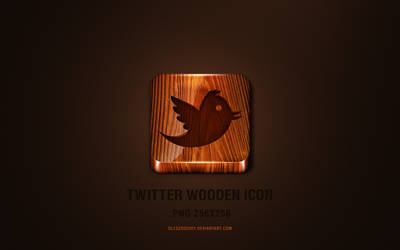 Twitter wooden icon