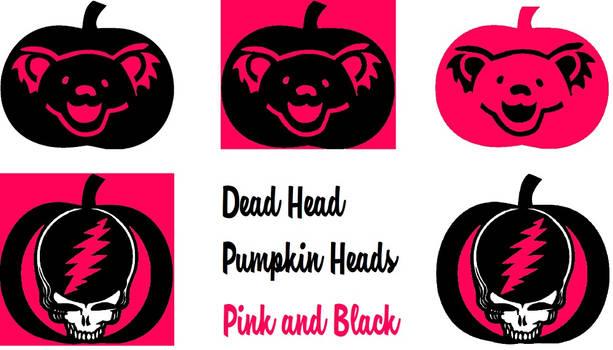 Dead Head Pumpkin Heads Pink and Black