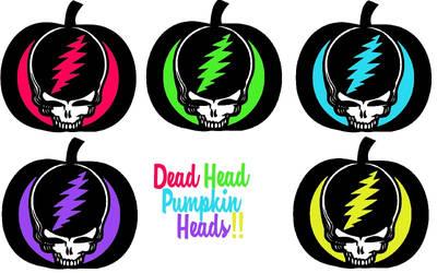 Dead Head Pumpkin Heads (5) Colorful