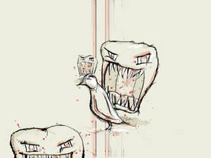 flesh eating heads and a bird