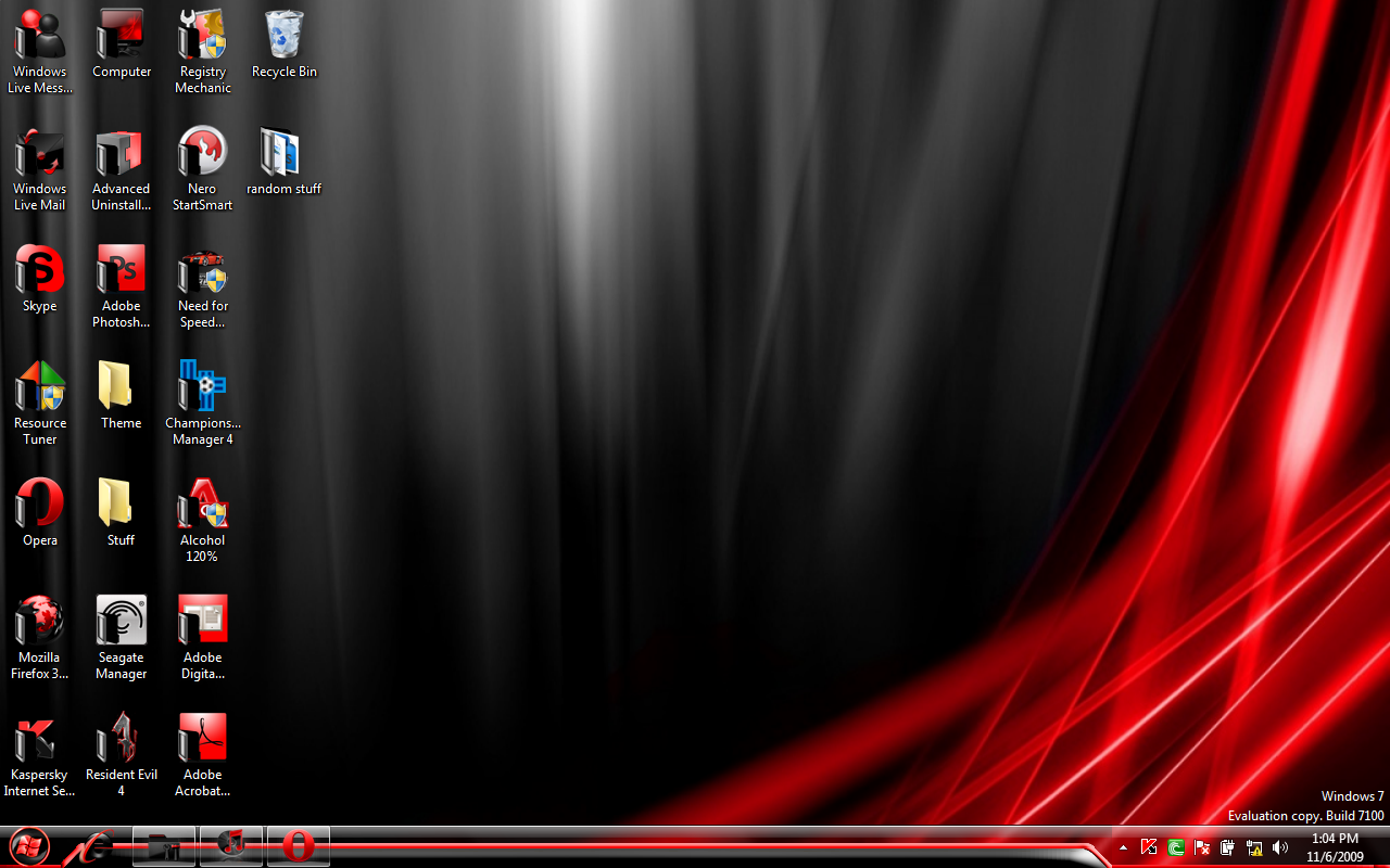 Red And Black Windows 7 Themes Win 7 Black and...