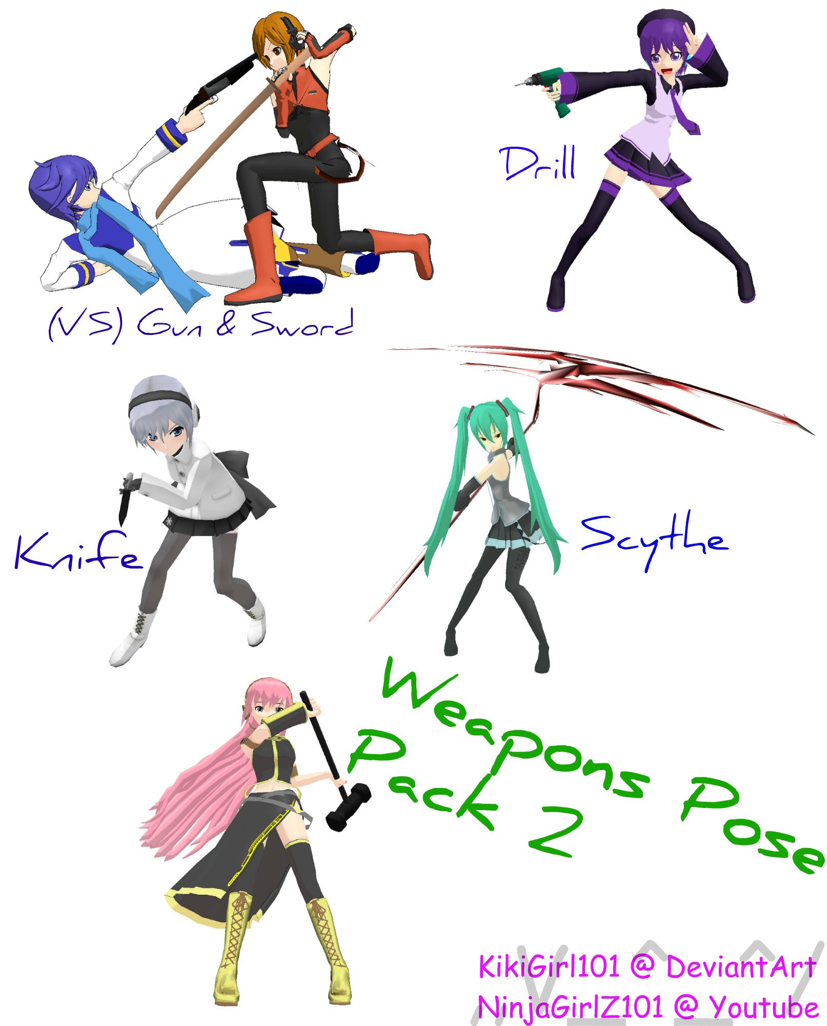 MMD Weapon Stances PosePack 2 DL by KikiGirl101
