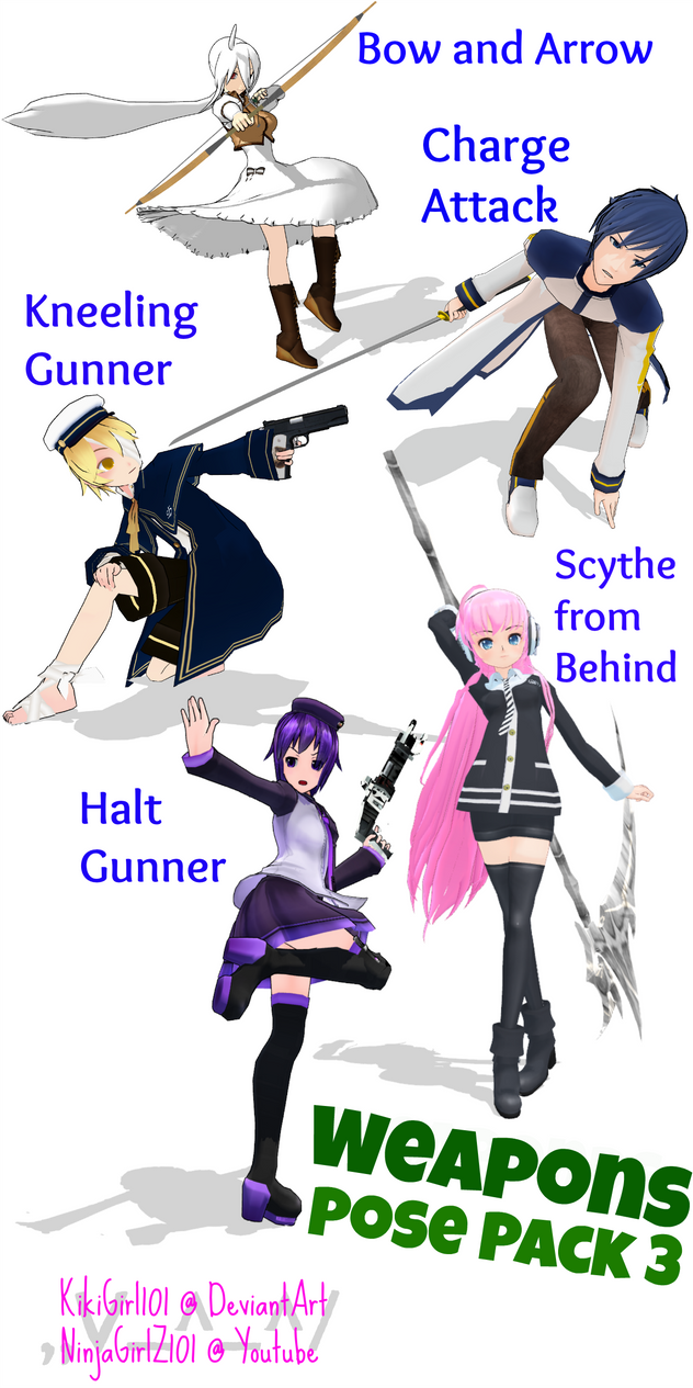 MMD Weapon Stances PosePack 3 DL by KikiGirl101