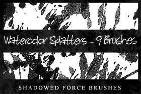 Watercolor Splatters-9 Brushes by ShadowedForce