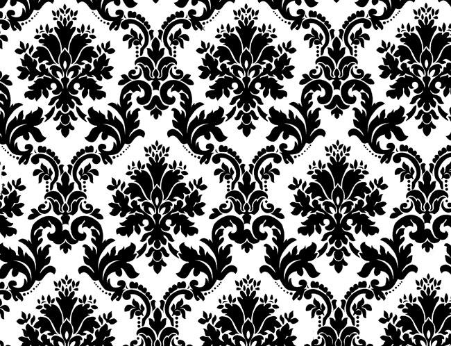 black and white floral wallpaper. Black White Floral Background