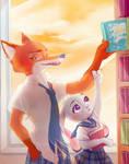 zootopia high school-bookshelf don