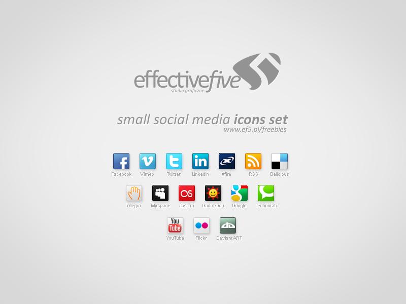 Small social media icons set
