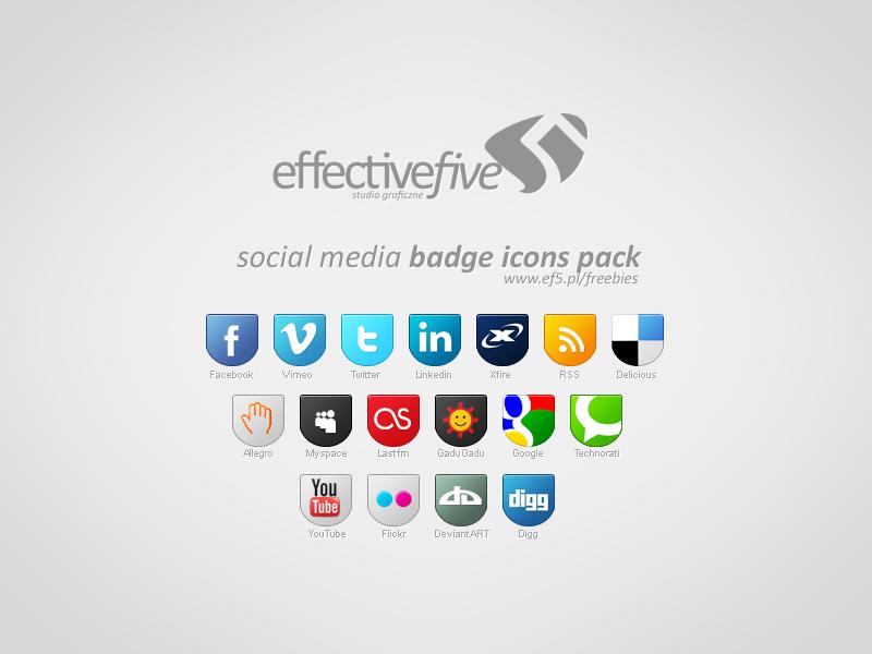 Social Media badge icons set