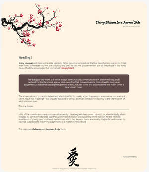 Cherry Blossom Love Journal Skin