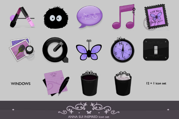 Anna Sui inspired icon set WIN