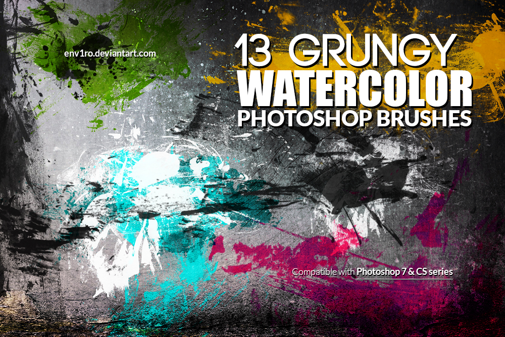 13 Grungy Watercolor Photoshop Brushes by env1ro on DeviantArt