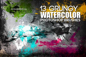 13 Grungy Watercolor Photoshop Brushes