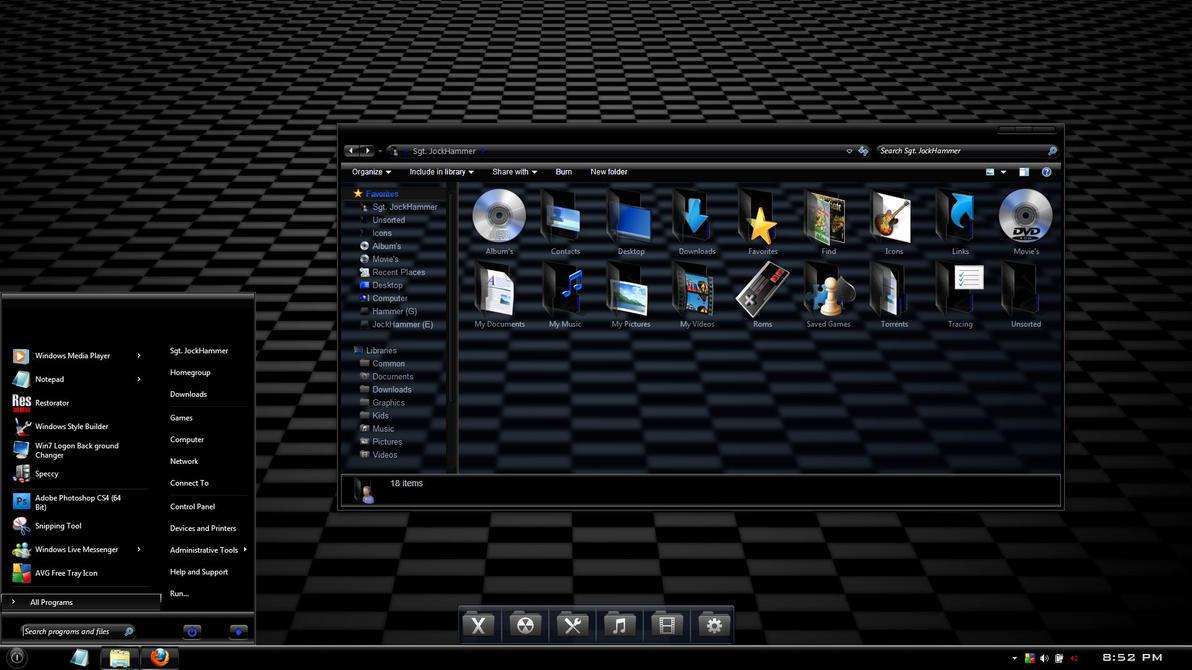Windows 7 theme : Ebony v2 by JockHammer