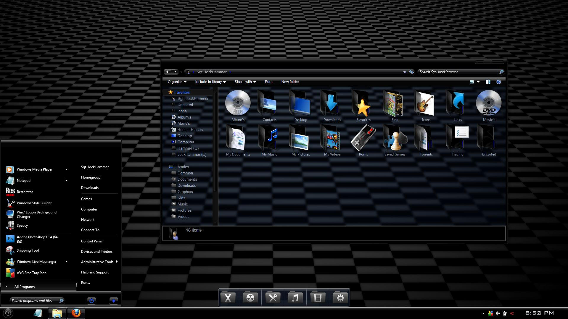 Windows 7 theme  Ebony...