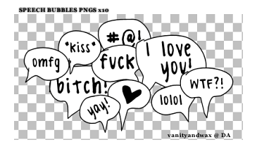 Speech Bubbles PNGS x10 by vanityandwax