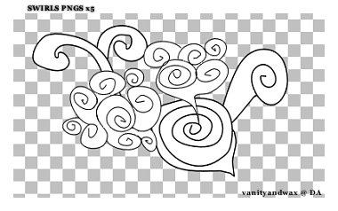 Swirls PNGS x5 by vanityandwax