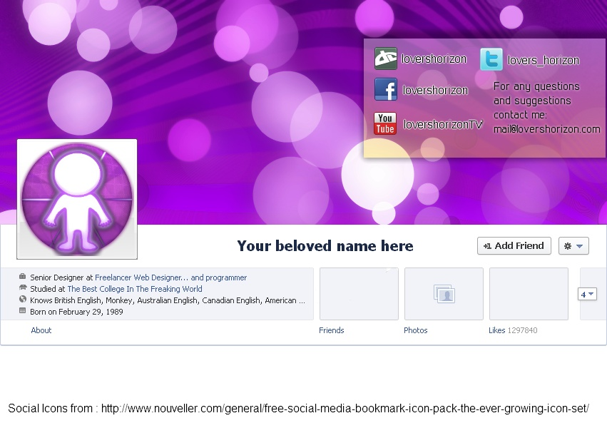 Facebook Timeline Cover Xcf Pdn Psd Template By Lovershorizon On
