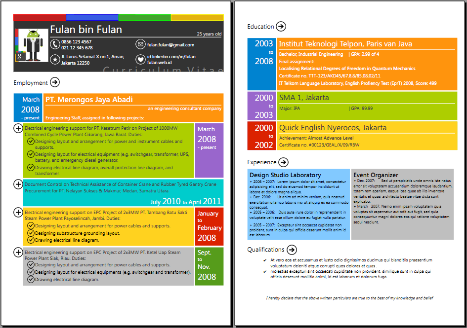 CV Google+ n Metro UI style