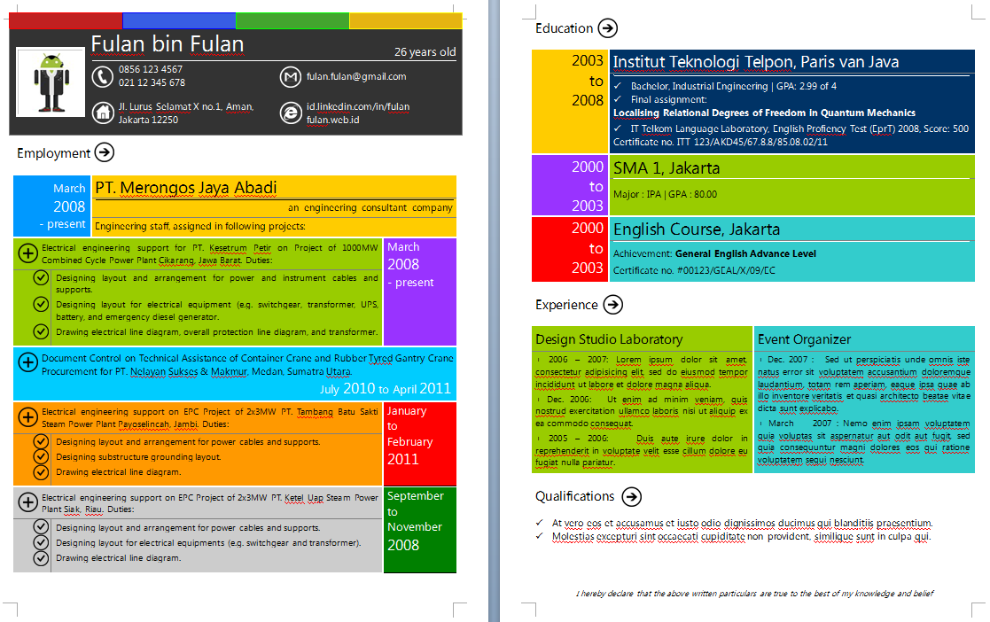 download curriculum vitae template with google  and metro