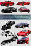 10 Ferraris with transparent background |PSD |PNG