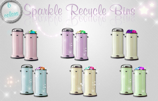 Sparkle Recycle Bins by kittenbella