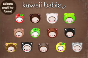 kawaii babies icons by kittenbella