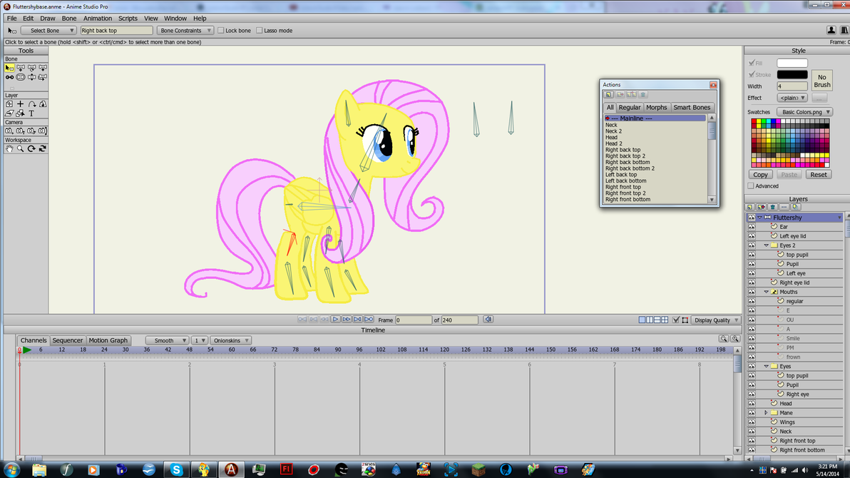 A better fluttershy puppet rig anime studio by treypol3