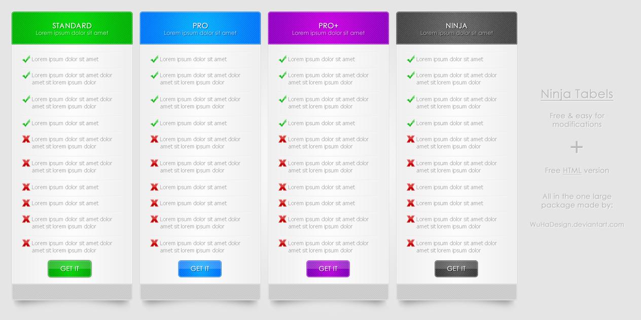 Ninja Tabels + HTML version by WuHaDesign