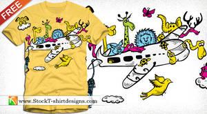 Cartoon Animals Riding Airplane T-shirt Design by stockt-shirtdesigns